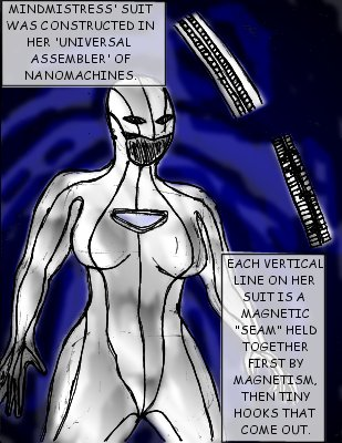 Mindmistress' suit was constructed in her 'universal assembler' of nanomachines. Each vertical line on her suit is a magnetic 'seam' held together first by magnetism, then by tiny hooks that come out.